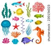 Marine Life Set Of Icons ...