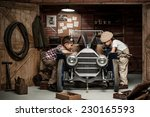 two boys standing at the... | Shutterstock . vector #230165593
