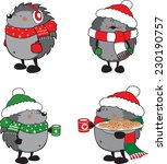 Set Of 4 Cute Hedgehogs Dresse...