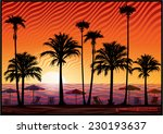 palm trees silhouette at sunset....   Shutterstock .eps vector #230193637