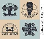 hand with dumbbells. logos for... | Shutterstock .eps vector #230213947