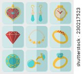 jewelry colorful flat icons set ... | Shutterstock .eps vector #230217523