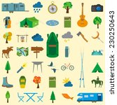 set camping icon  hiking ... | Shutterstock .eps vector #230250643
