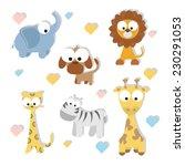 cute cartoon animals set. vector | Shutterstock .eps vector #230291053