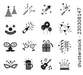 b w icons set   party objects | Shutterstock .eps vector #230308147