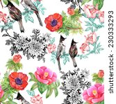 birds on branch with flowers...   Shutterstock .eps vector #230333293
