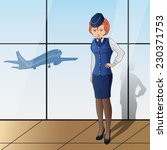 stewardess with blue uniform on ... | Shutterstock .eps vector #230371753