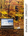 laptop on a glass table on... | Shutterstock . vector #230412127