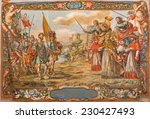 Small photo of SEVILLE, SPAIN - OCTOBER 28, 2014: Fresco of scene the Act of barbarian king Atilla with pope st. Leo the great before of Rome walls in church Hospital de los Venerables by Valdez Leal (1622 - 1690)