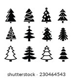 vector black christmas tree set ... | Shutterstock .eps vector #230464543