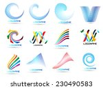 Vector Logo Design Template . Abstract Colorful Stripe Icon . Curved Lines on White Background . Spiral Logo .