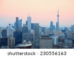 Toronto At Dusk With City Ligh...