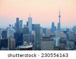 Toronto At Dusk With City Ligh...
