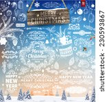 hand drawn christmas and new... | Shutterstock .eps vector #230593867