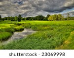High dynamic range image of the Ronneby golf course in Sweden - stock photo