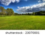 Autumn scenery on Ronneby golf course in Sweden - stock photo