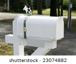 White Mailbox With Cow On Top