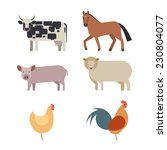 farm animals set in flat vector ... | Shutterstock .eps vector #230804077