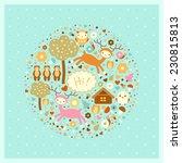 raster funny card with deer ... | Shutterstock . vector #230815813