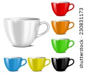 cups of various colors on a... | Shutterstock .eps vector #230831173