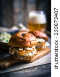 rustic fish burgers with... | Shutterstock . vector #230873407
