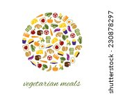 vegetarian meals icons in circle | Shutterstock .eps vector #230878297