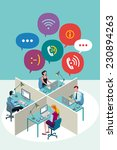 four office workers working... | Shutterstock .eps vector #230894263