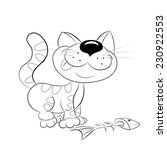cartoon cheerful cat ate the... | Shutterstock .eps vector #230922553