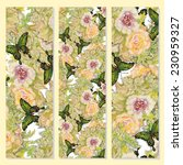 floral cards on yellow... | Shutterstock .eps vector #230959327