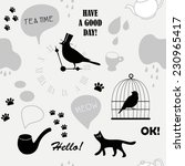 grey british pattern with cat... | Shutterstock .eps vector #230965417