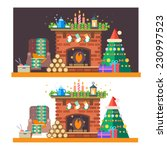 christmas time. interior of the ... | Shutterstock .eps vector #230997523