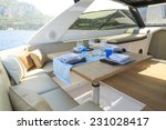lunch on motor yacht  table... | Shutterstock . vector #231028417