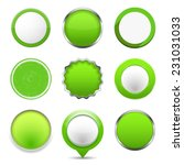 set of green round buttons ...