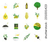 olives flat icons set with tree ... | Shutterstock .eps vector #231031423