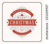 christmas retro greeting card... | Shutterstock .eps vector #231039907