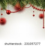 winter background with spruce... | Shutterstock .eps vector #231057277