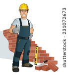 bricklayer building wall | Shutterstock .eps vector #231072673