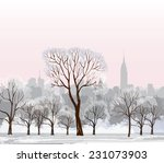 christmas winter cityscape with ... | Shutterstock .eps vector #231073903