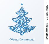 blue christmas tree with star.... | Shutterstock .eps vector #231084007