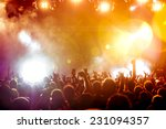 silhouettes of concert crowd in ... | Shutterstock . vector #231094357