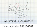 airplane with santa claus hat ... | Shutterstock . vector #231104887