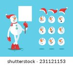 Funny Snowman. Cartoon Vector...