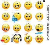 vector set of smiling ball... | Shutterstock .eps vector #231122893