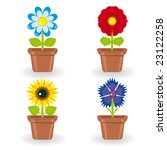 set of four flowers in...