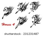 black and white galloping... | Shutterstock .eps vector #231231487