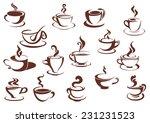 doodle sketch set in brown and... | Shutterstock .eps vector #231231523