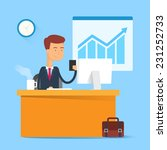 business concept   man sitting... | Shutterstock .eps vector #231252733