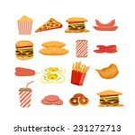 fast food  objects set | Shutterstock .eps vector #231272713