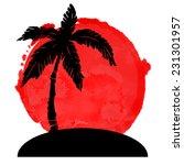 coconut palm tree black... | Shutterstock .eps vector #231301957