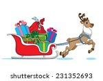santa claus's reindeer with red ... | Shutterstock .eps vector #231352693